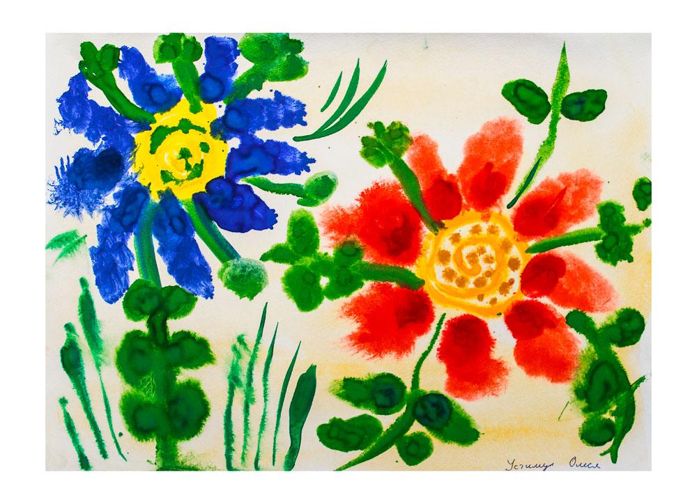 Рисование цветы средняя группа